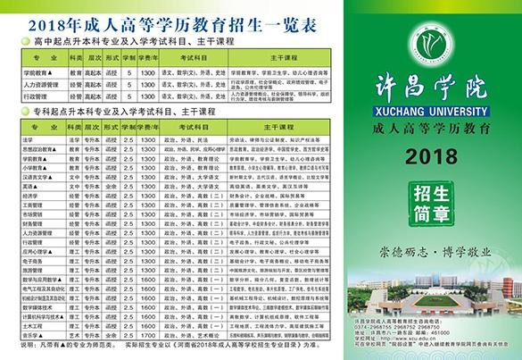 许昌学院2018年成人高考招生简章